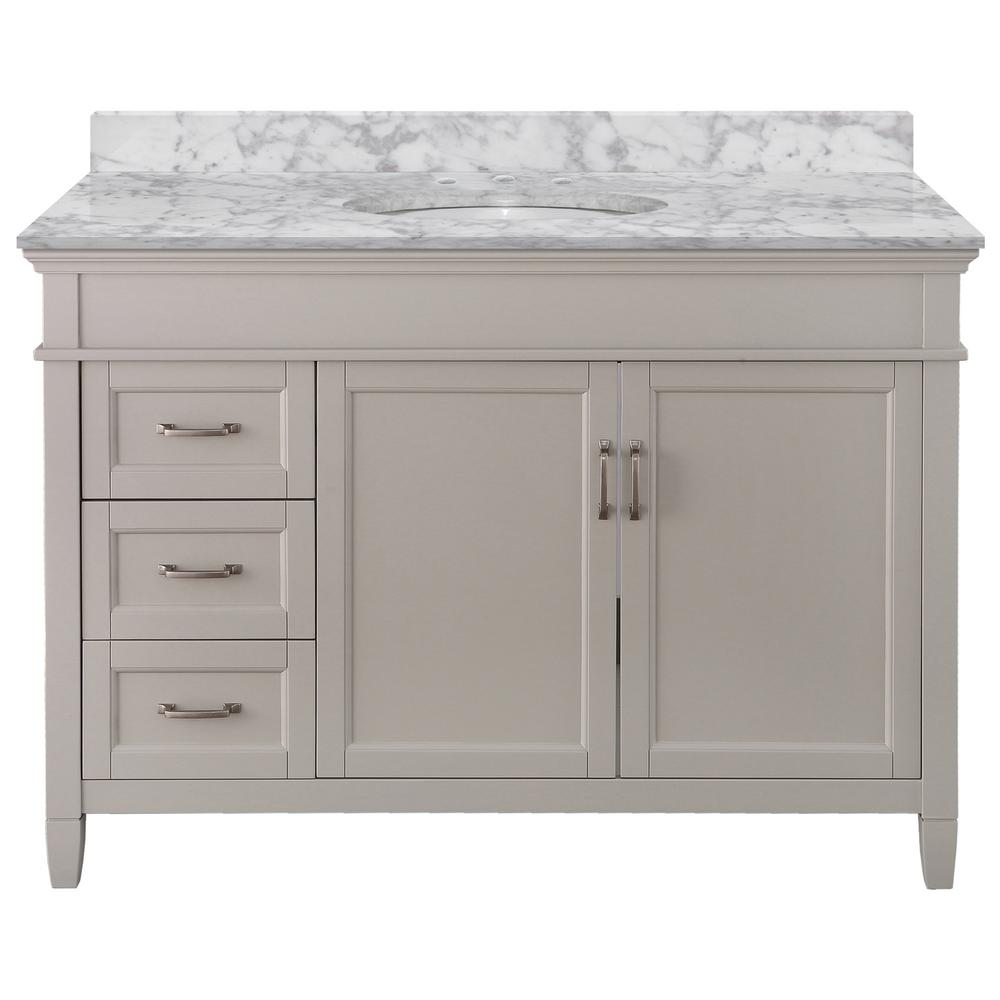 Home Decorators Collection Ashburn 49 in. W x 22 in. D Bath Vanity in Grey LH Drawers with Marble Vanity Top in Carrara with White Oval Sink was $1319.0 now $791.4 (40.0% off)