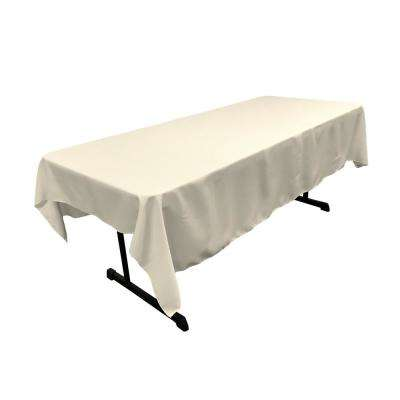 Ivory  60 in. x 90 in. Polyester Poplin Rectangular Tablecloth