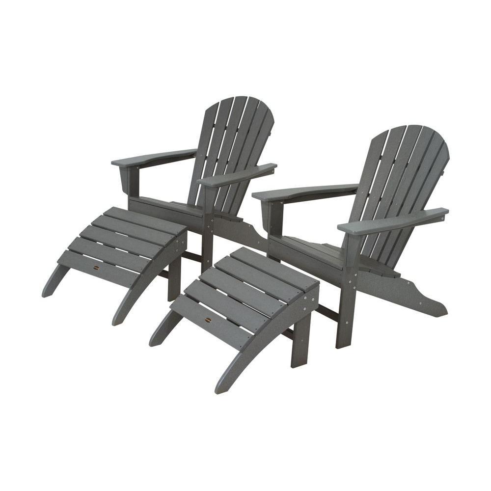 Polywood South Beach Slate Grey Plastic Patio Adirondack Chair 2 Pack