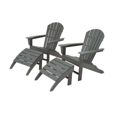 South Beach Slate Grey Plastic Patio Adirondack Chair (2-Pack)