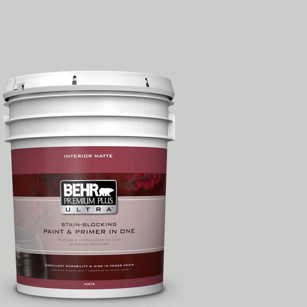 BEHR Premium Plus Ultra 5 gal. #PWL-89 Silver Setting Flat/Matte Interior Paint