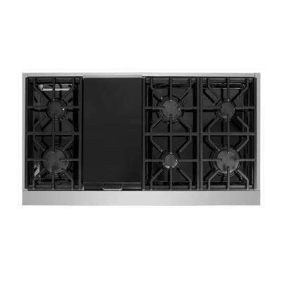 Entree 48 in. Professional Style Gas Cooktop with 6-Burners and a Griddle Burner in Stainless Steel and Gold