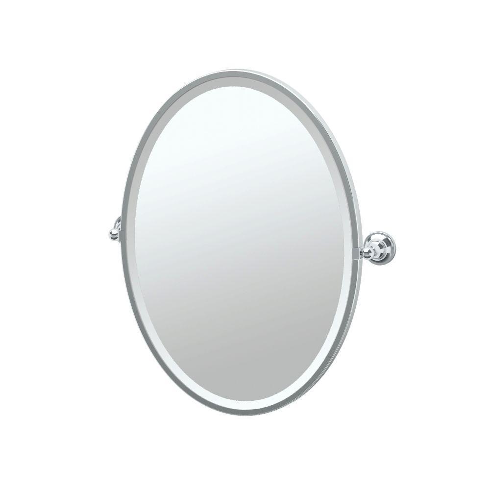 Tiara 21 in. W x 28 in. H Framed Single Oval Mirror in Chrome