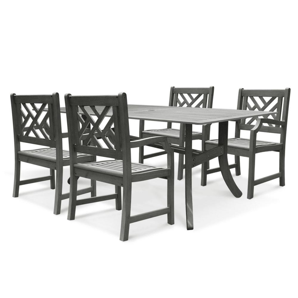 Vifah Renaissance Acacia 5-Piece Patio Dining Set with 32 in. W Table and Herringbone-Back Armchairs