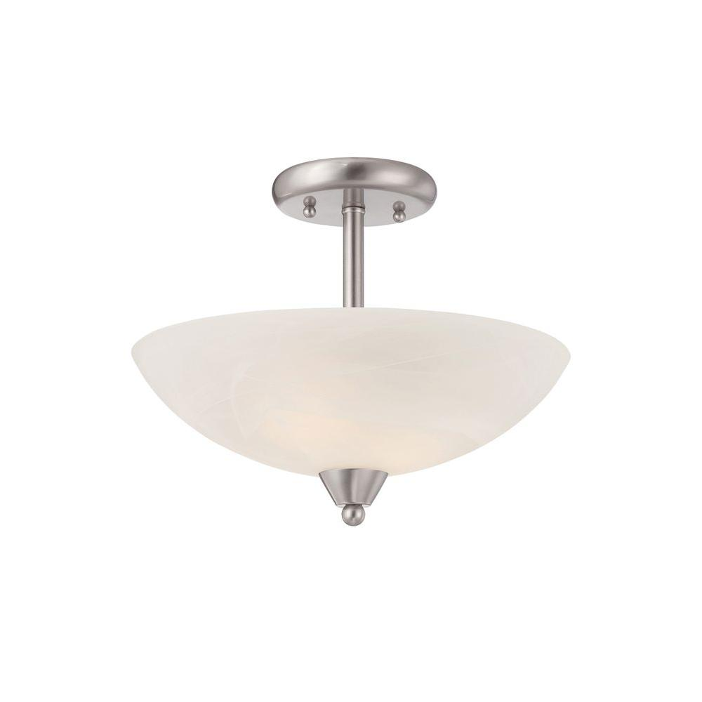 Torino 2-Light Brushed Nickel Semi-Flush Mount Light