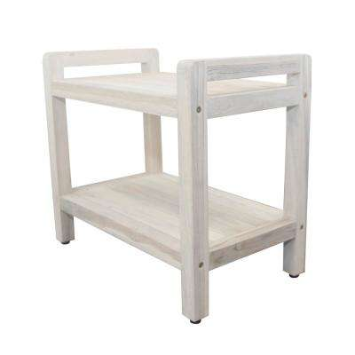 White Wash Classic 24 in. Teak Shower Stool with LiftAid Arms And Shelf
