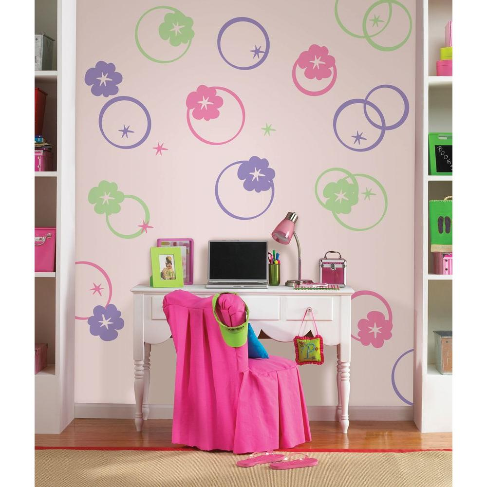 WallPOPs 13 in. x 13 in. Pink Hooplah Circles 8-Piece Wall Decals