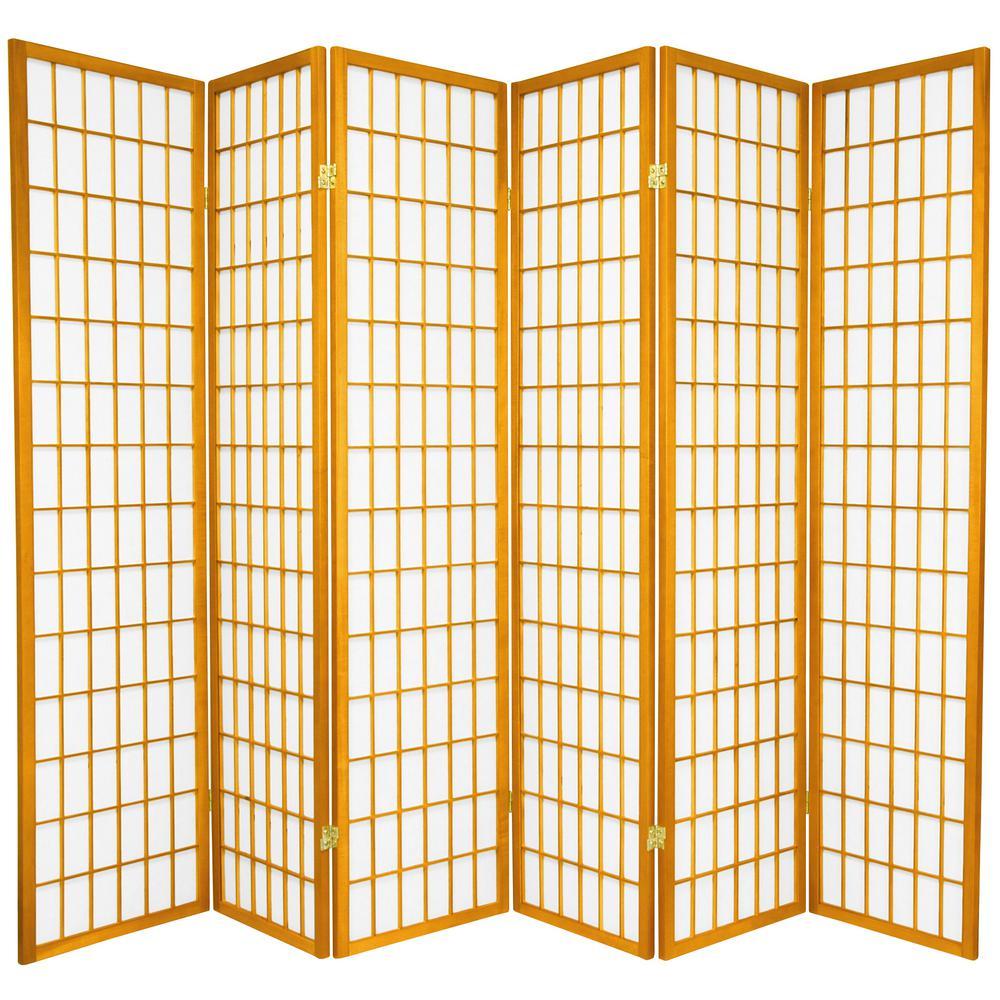 Oriental Furniture 6 ft. Honey 6-Panel Room Divider CWP-6P-HON