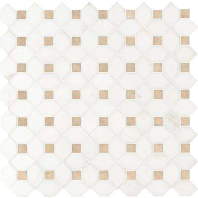 Bianco Dolomite Crema Dotty 12.4 in. x 12.4 in. x 10mm Polished Marble Mesh-Mounted Mosaic Tile (10.7 sq. ft. / case)