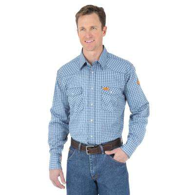 Men's Size Extra-Large Blue Plaid Western Shirt