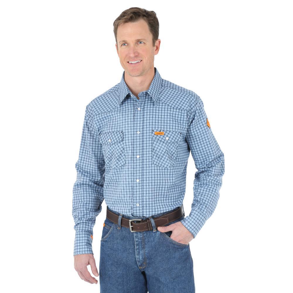 Men's Size Large Tall Blue Plaid Western Shirt