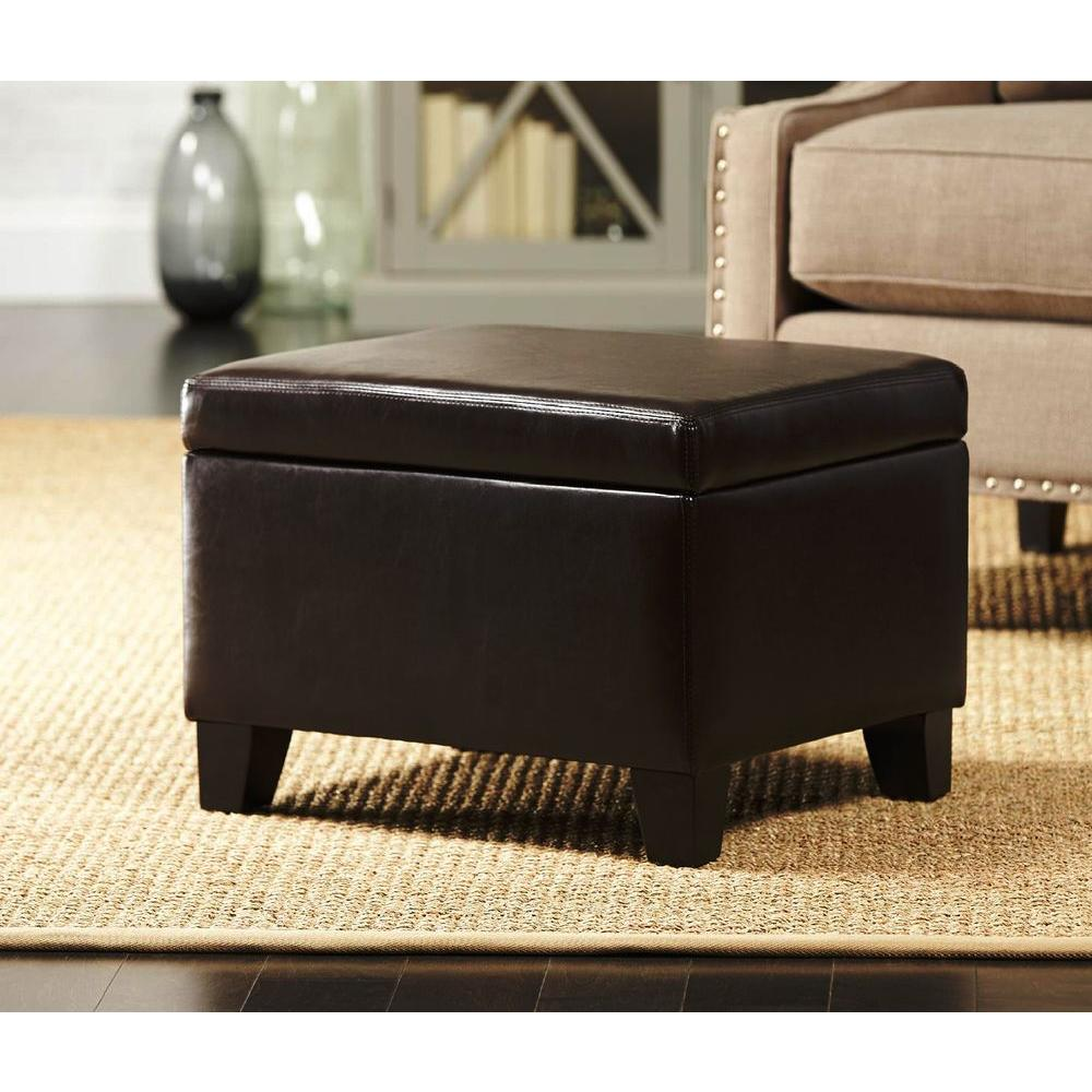 Home Decorators Collection Classic Faux Leather Storage Ottoman in