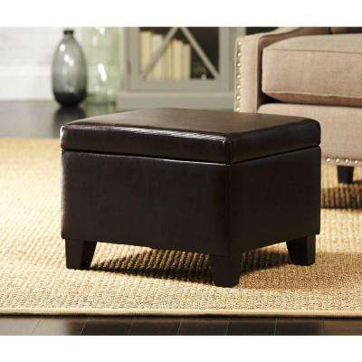 Classic Faux Leather Storage Ottoman in Dark Brown