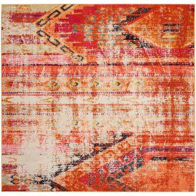 Monaco Orange Multi 5 Ft X Square Area Rug