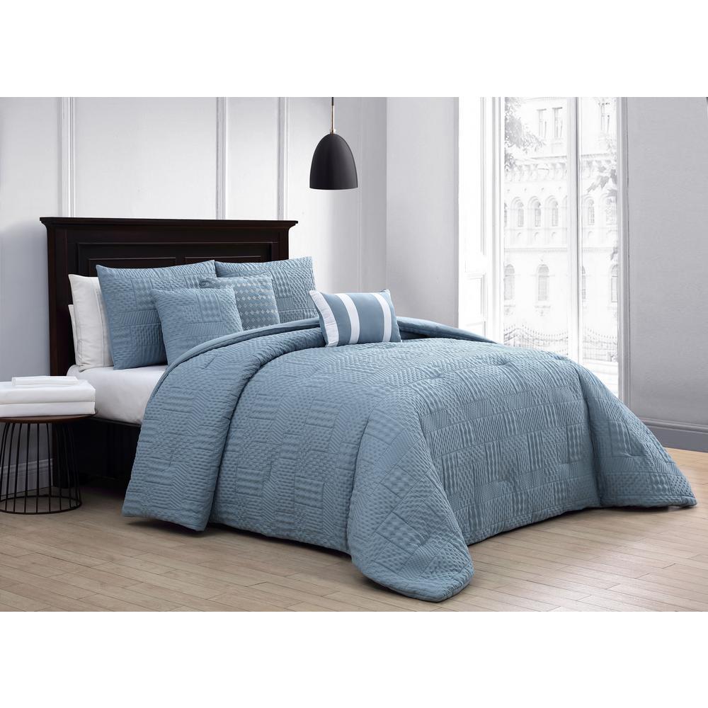 Yardley 10-Piece Embossed Blue Queen Comforter Set with Sheet Set
