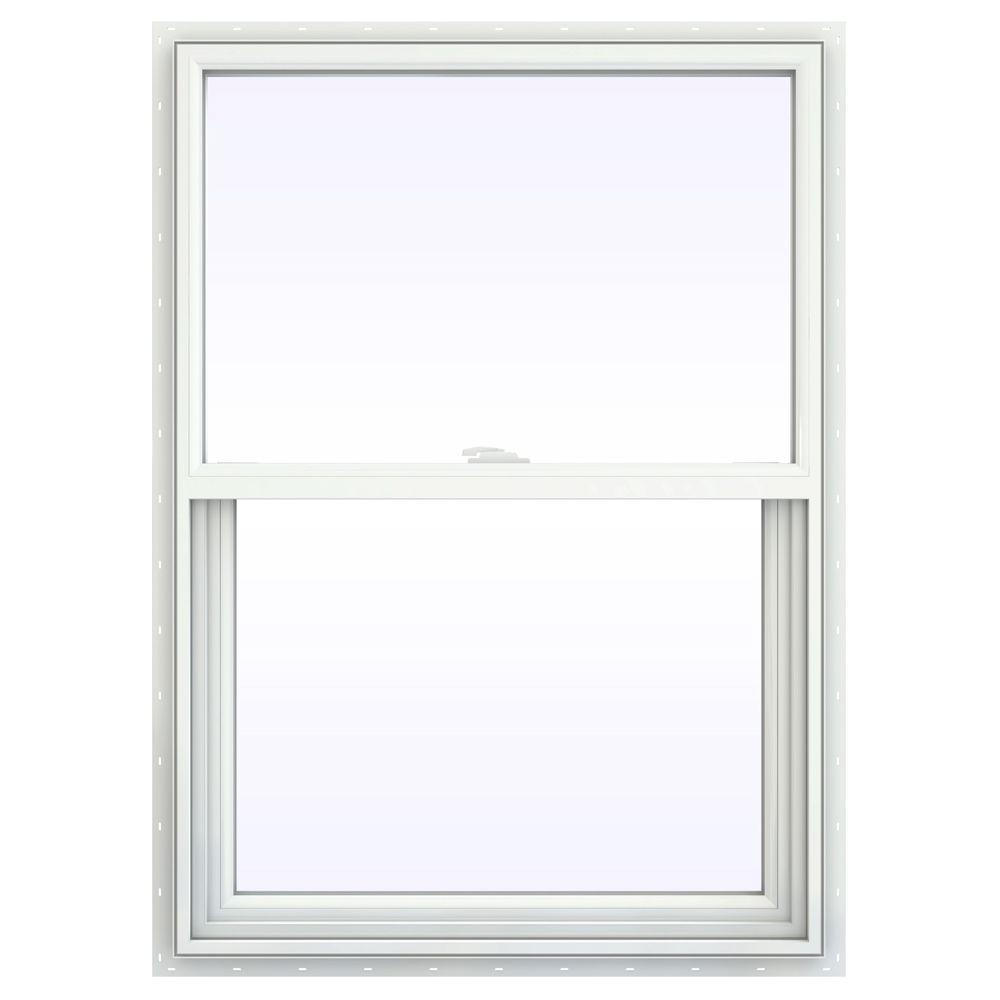 JELD-WEN 29.5 in. x 47.5 in. V-2500 Series White Vinyl Single Hung Window with Fiberglass Mesh Screen