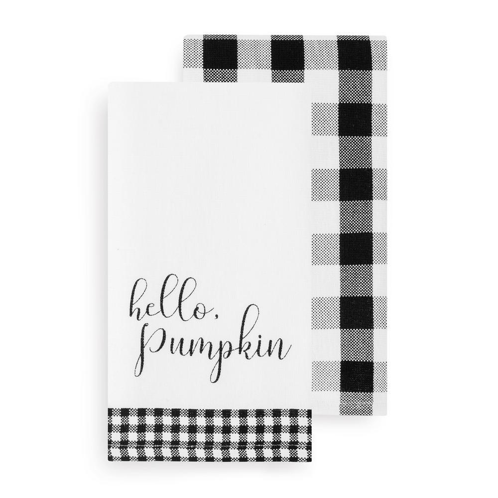 Black White Hello Pumpkin And Check Kitchen Towel Set Of 2