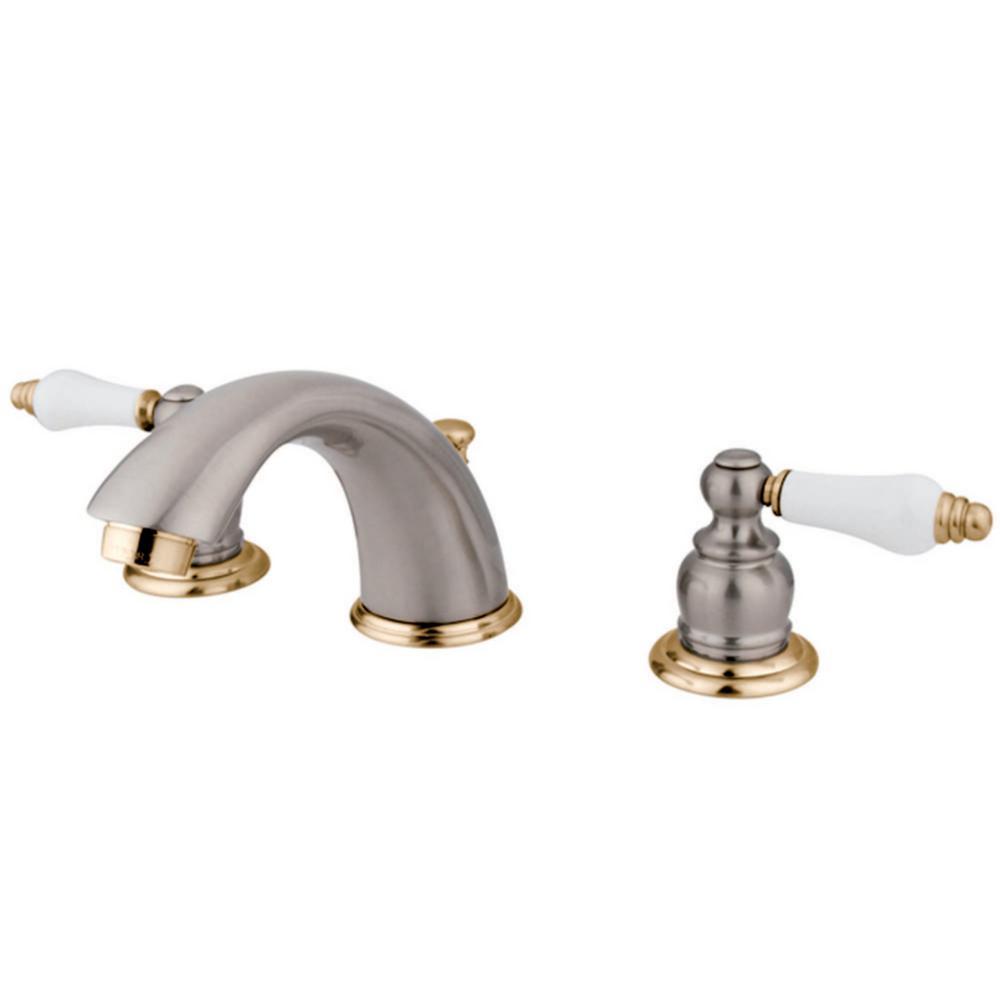 Kingston Brass Victorian Crystal Widespread Bathroom Faucet: Kingston Brass Victorian 8 In. Widespread 2-Handle Bathroom Faucet In Brushed Nickel And