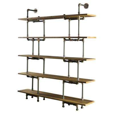 New Age 71 in. Hammered Bronze/Aged Bronze Metal 5-shelf Etagere Bookcase with Open Storage