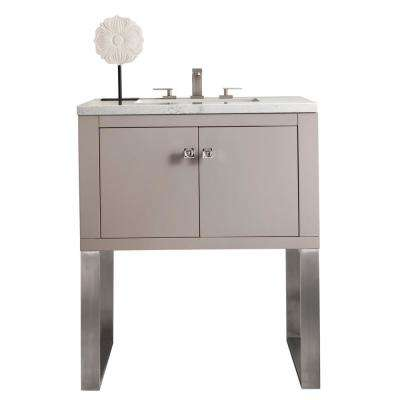 Westlake 30 in. Single Bath Vanity in Mountain Mist with Marble Vanity Top in Carrara White with White Basin