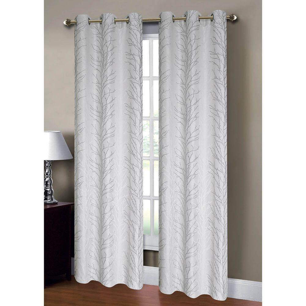 Window Elements Semi-Opaque Savannah Jacquard 84 in. L Grommet ...