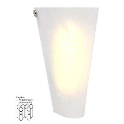 White 6-LED Conical Battery Operated Sconce with Frosted Marble Glass Shade