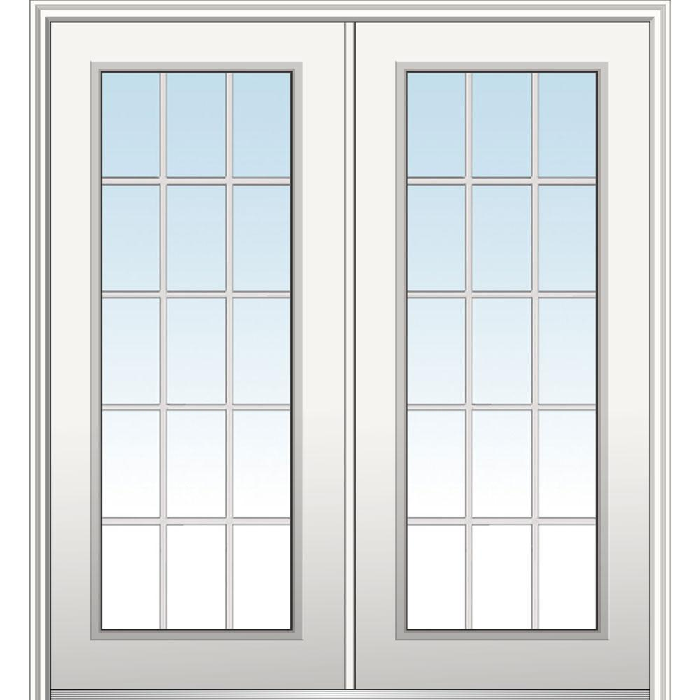 MMI Door 64 in. x 80 in. Classic Left-Hand Inswing 15-Lite Clear Primed Fiberglass Smooth Prehung Front Door with Brickmould
