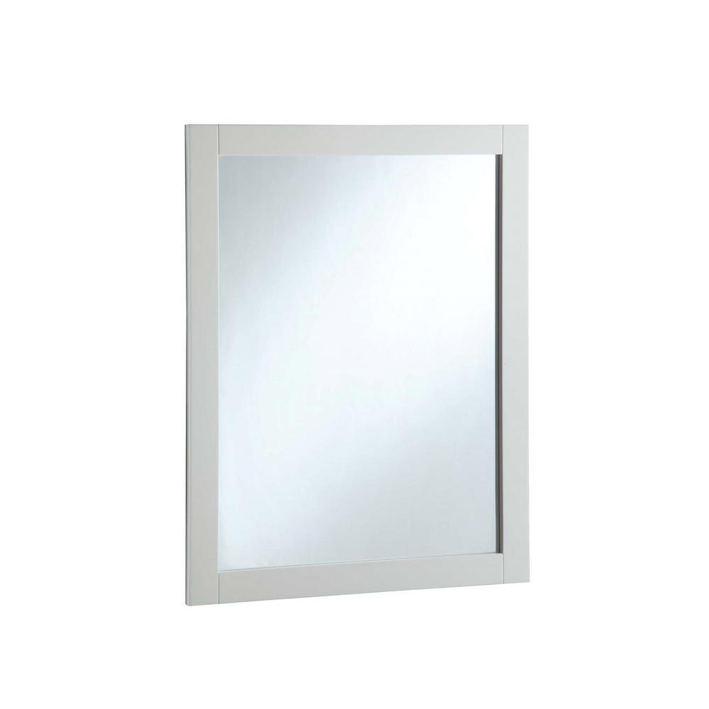 24 in. W x 30 in. H Framed Rectangular Bathroom Vanity Mirror in Semi-Gloss White
