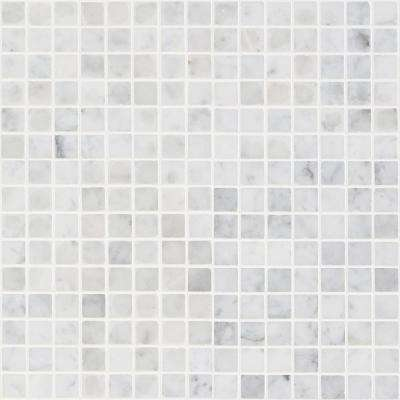 White Carrera Brick Joint 12 In X Polished Marble Mosaic Tile