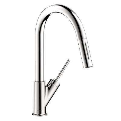 Axor Starck Prep Single-Handle Pull-Down Sprayer Kitchen Faucet in Chrome