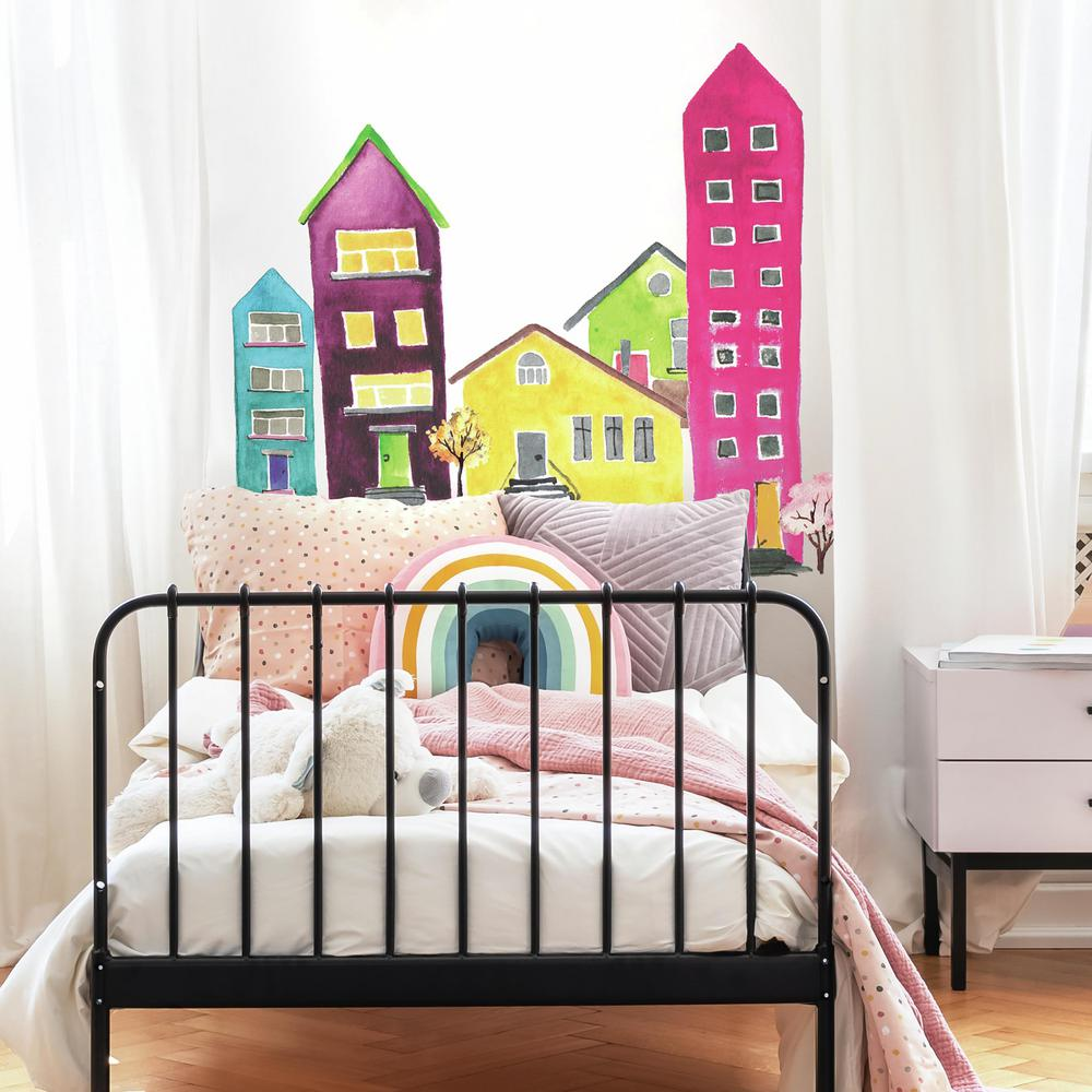 Roommates Watercolor Village Peel And Stick Wall Decals Rmk4011gm The Home Depot