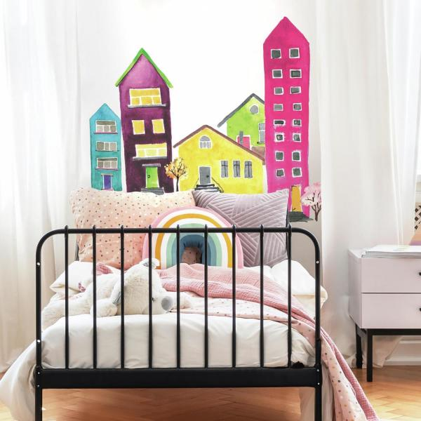 Watercolor Village Peel And Stick Wall Decals