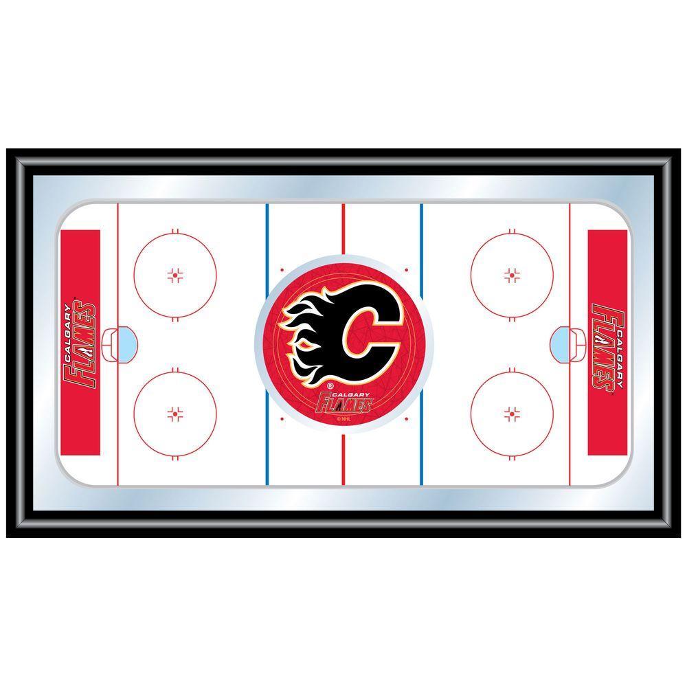 null NHL Calgary Flames 15 in. x 26 in. Black Wood Framed Mirror