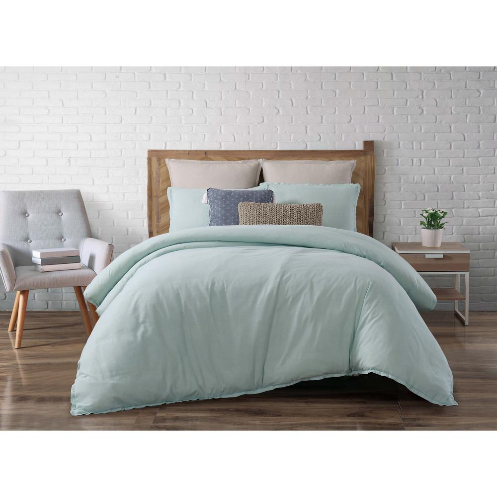 Brooklyn Loom Chambray Loft Aqua King Comforter With 2 Shams