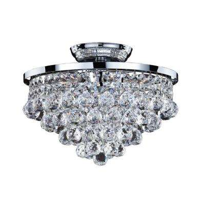 Vista 6-Light Chrome and Faceted Crystal Ball  13 in. Incandescent Flush Mount