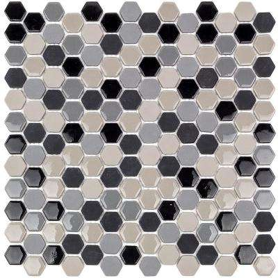 Recoup Hexagon Steel 11.5 in. x 12 in. x 6 mm Glass Mosaic Floor and Wall Tile