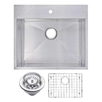 Drop-In Stainless Steel 25 in. 1 Hole Single Bowl Kitchen Sink with Strainer and Grid in Satin