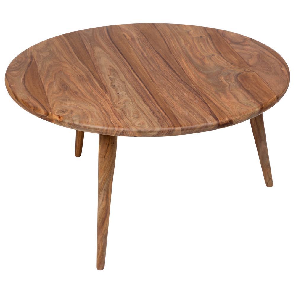 Urban Mid-Century Modern Sheesham Wood Round Coffee Table