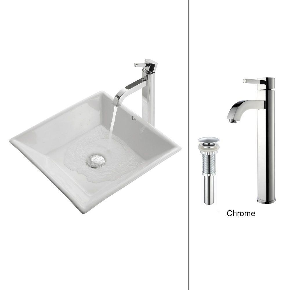 Flat Square Ceramic Vessel Sink in White with Ramus Faucet in