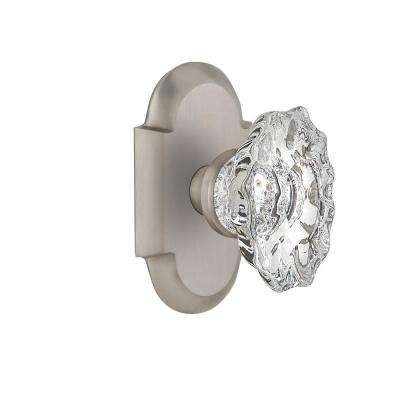 Cottage Plate 2-3/8 in. Backset Satin Nickel Privacy Bed/Bath Chateau Door Knob