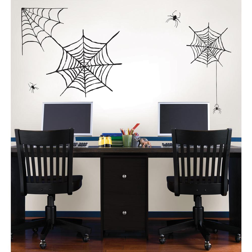 Wall pops 39 in x 34 5 in spider web large wall art kit dwpk2248 the home depot