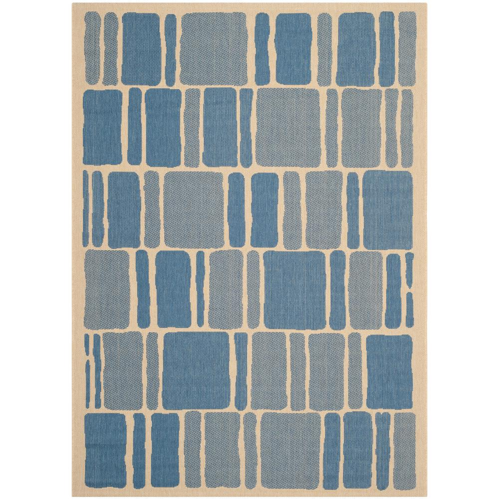 Martha Stewart Cream/Blue 8 ft. x 11 ft. 2 in. Indoor/Outdoor