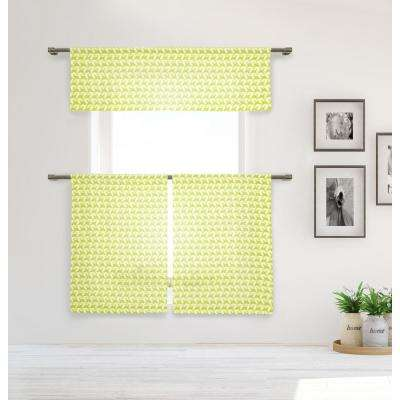Lemona Kitchen Valance in Tiers/Lime - 15 in. W x 58 in. L (3-Piece)