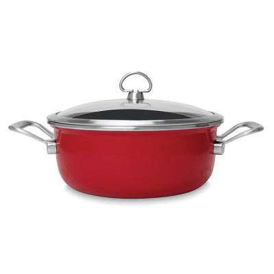 Copper Fusion 4 qt. Round Carbon Steel Risotto Pan in Chili Red with Glass Lid