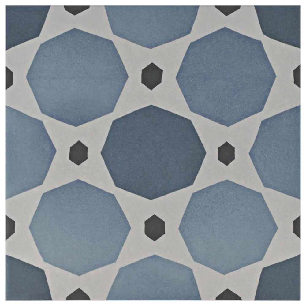 Merola Tile Caprice Colours Sapphire Encaustic 7-7/8 in. x 7-7/8 in. Porcelain Floor and Wall Tile (11.46 sq. ft. / case)