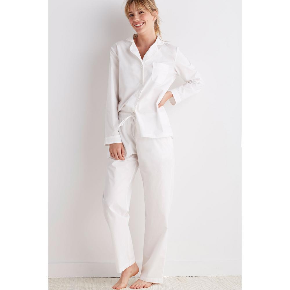 0edfce465 The Company Store Solid Poplin Cotton Women's Extra Small White Pajama Set