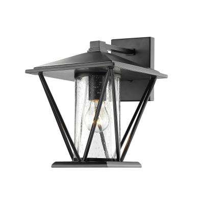 12.25 in. 1-Light Powder Coated Black Outdoor Wall Lantern Sconce with Glass Shade