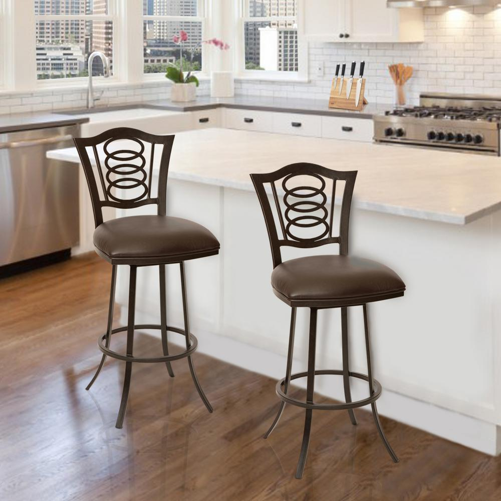 Armen Living Essex 30 In. Coffee Faux Leather And Auburn Bay Finish  Transitional Barstool