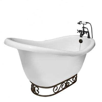 67 in. AcraStone Acrylic Slipper Clawfoot Non-Whirlpool Bathtub in White with Fierro Base and Faucet in Old World Bronze