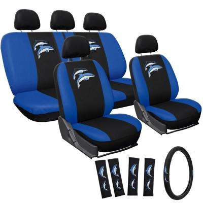 Polyester Seat Cover Set 24 in. L x 21 in. W x 40 in. H 17-Piece Embroidered Dolphin Seat Cover Set